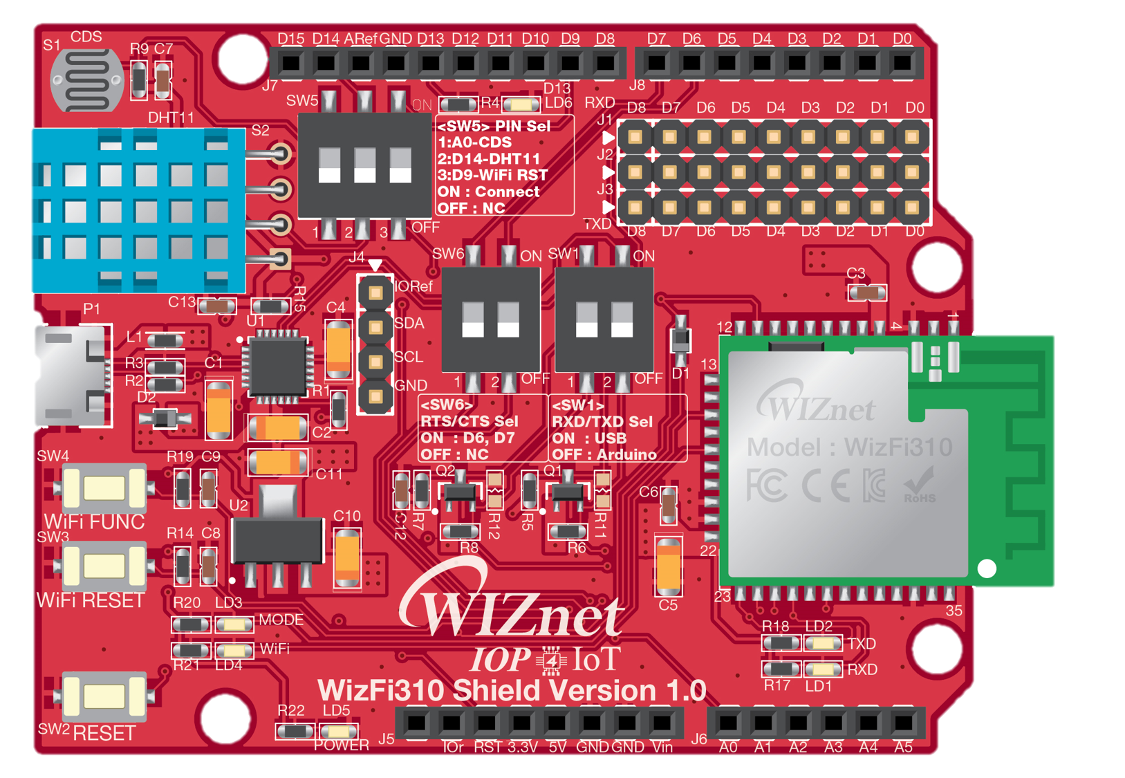 WizFi310 Shield Top